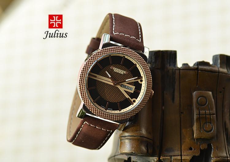Юлий Homme человек наручные часы кварцевых часов топ мода платье браслет кожа мальчик школы на день рождения рождество валентина подарок 083