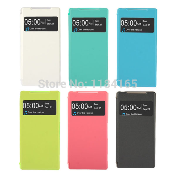 Cloth Texture Flip Small Cover Leather Case with Call Display ID for Sony Xperia Z2 / L50w(China (Mainland))