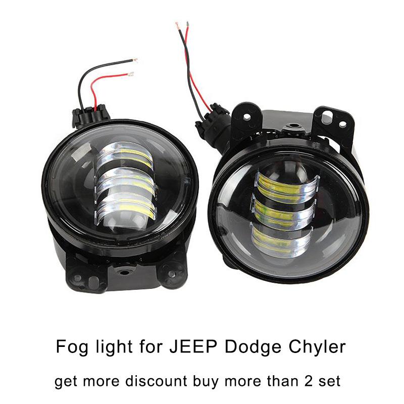 2x CREE 4inch 18W round black inner bezel LED Fog light  for JEEP Wrangler Dodge Magnum Journey Chrysler Cruiser 300 2007-2015