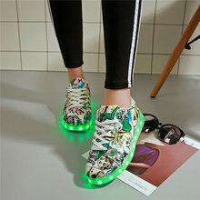 7ipupas Led אור עד נעליים לילדים חדש 11 צבעים זוהר סניקרס usb נטענת יוניסקס ילדים ילד ילדה גרפיטי led נעל(China)