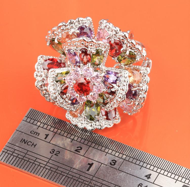 Восхитительные Цветы многоцветный Morganite Топаз 925 Стерлингового Серебра Моды и Модных женщин Ювелирные Изделия Кольца Размер 6 7 8 9 S0885