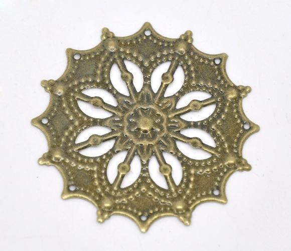 Free Shipping 50 Bronze Tone Filigree Flower Wraps Connectors 43mm B100019