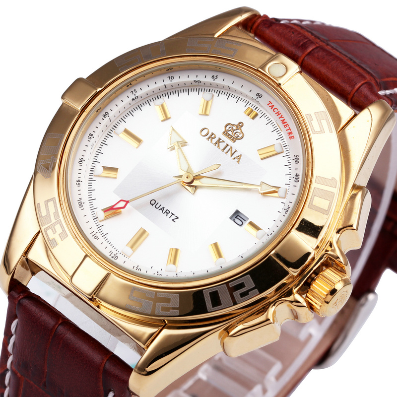 Exclusive ORKINA Men Watch Unisex Classic Vogue Wristwatch Brown Genuine Leather Band Luxury Brand Golden Case W/ Calendar BOXED(China (Mainland))