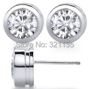 Round Bezel Set Test Positive Diamond Stud Earrings 14K Gold Total 0.5 Carat Studs Lab Grown Moissanites Brand Stud Earrings(China (Mainland))