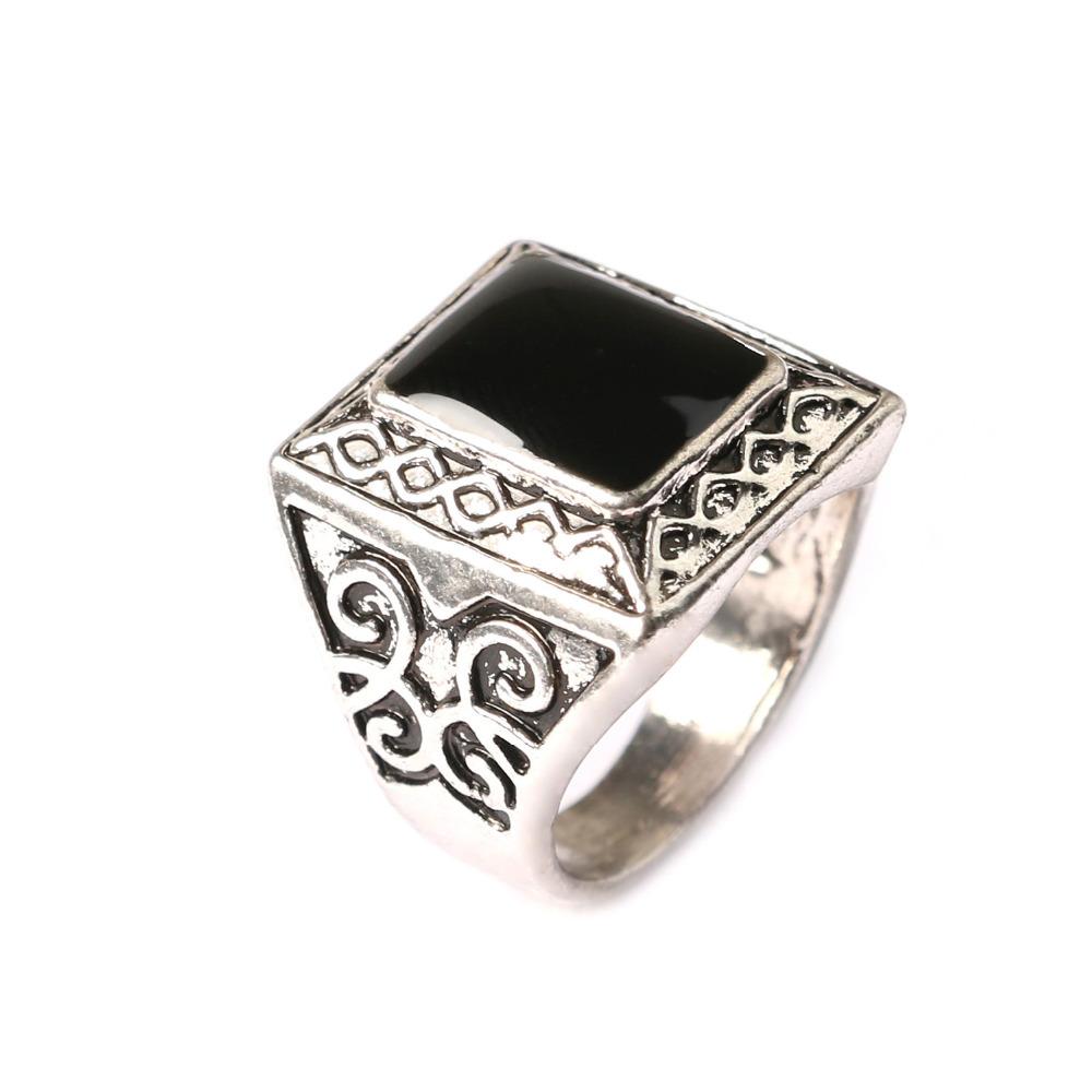 Black Enamel Mens Rings 925 Sterling Silver Jewelry dallas cowboys jersey punk rock ring patriots jersey(China (Mainland))