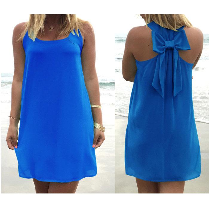 Платье женщины платье бант шифон пляж, лето с низким вырезом на спине свободного покроя сарафан   женщины vestidos