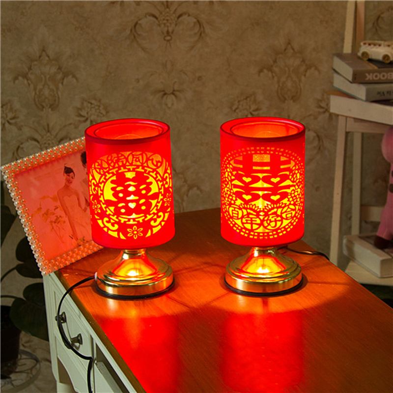 China Style Wedding Bedroom Lamp Holiday Atmosphere Lamp Creative ChineseTraditional Wedding Gift Festive Red Desk Lamp(China (Mainland))
