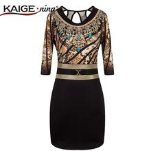KaigeNina New Fashion Hot Sale Women  Sheath  leopard Three Quarter O-Neck Knee-Length 1866#-3-5-7 bodycon dress(China (Mainland))