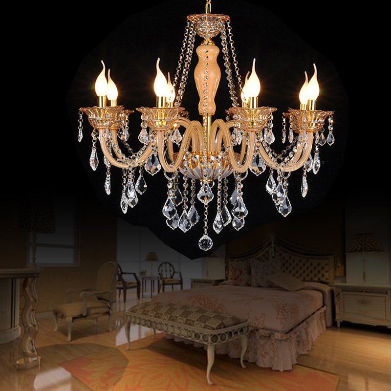 ambre couleur lustre chambre moderne lustre en cristal clairage 8 feux de luminaires en cristal. Black Bedroom Furniture Sets. Home Design Ideas