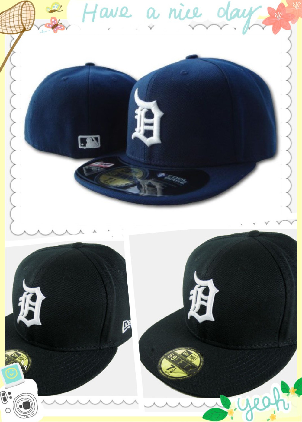 Free shipping! Wholesale Detroit Tigers sport team fitted cap flat brim on field full closed design baseball hat navy blue/black(China (Mainland))