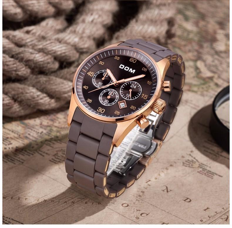 DOM Оригинал Швейцария Мужчины Спортивные Часы Черный Водонепроницаемые Часы Мужчины Люксовый Бренд Большой Циферблат Мужчины Кварцевые Часы Наручные Часы
