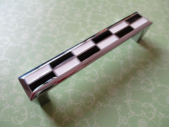 3.75 Mosaic Dresser Drawer Pull Handles Black White Cabinet Door Handle Silver Chrome Square / Gingham Modern Furniture Knobs <br><br>Aliexpress