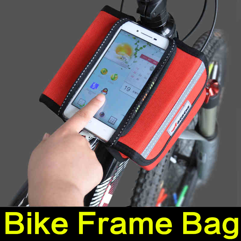 Acacia Waterproof Cycling Bags Bike Bicycle Front Frame Bag Tube Pannier Double Pouch For 5in Touch Screen Cellphone Bag 3 Color(China (Mainland))