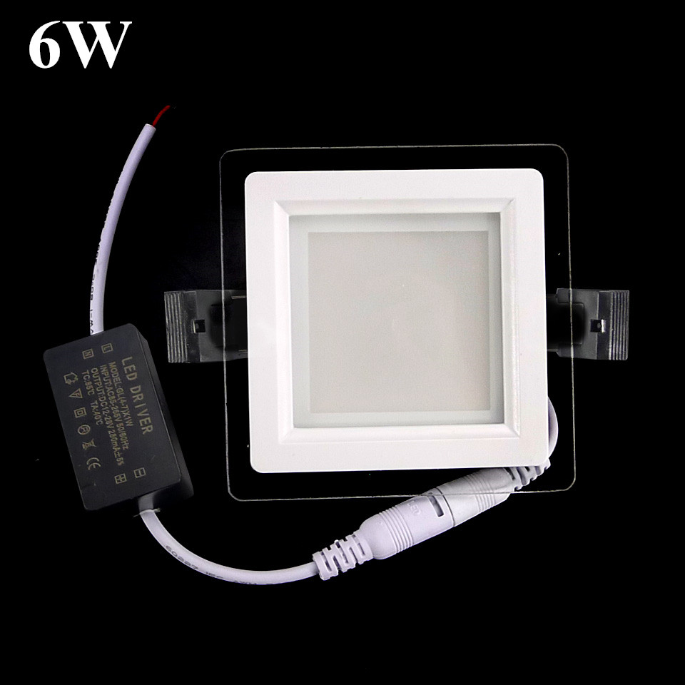 6w dimmable led glass panel light 600lm square ceiling recessed. Black Bedroom Furniture Sets. Home Design Ideas