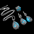 HENSEN Fashion Turkish Jewellery Vintage Silver Plated Black Crystal And Natural Stone Blue Turquoise Jewelry Sets