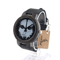 BOBO BIRD D24 Mens Punk Skull Watches Leather Band Quartz Wood Watches for Mens Top Brand