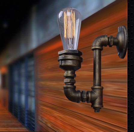 Фотография American Loft Style Iron Edison Wall Sconce Creative Water Pipe Lamp Industrial Vintage Wall Light Fixtures Indoor Lighting