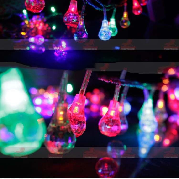 10m 60LEDs Waterdrop LED String Light RGB Lamp Crystal Pentament Ornament Lights Wedding Pary ...