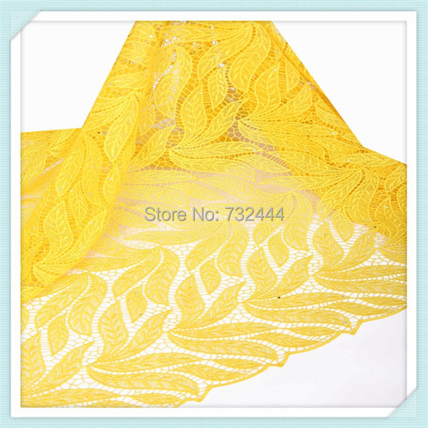 100%polyester 2015 Latest Design Yellow African Lace,Nigerian Lace Fabric with Stones for Retailer or Wholesaler(China (Mainland))