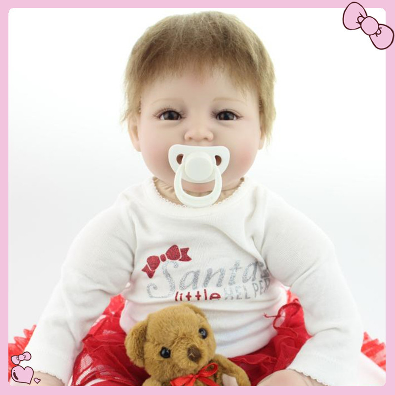 Birthday Present For Kids 22 inches Weighted Lifelike Baby Reborn Dolls Girls Toys 55CM Handmade Very Soft Lovely Fashion Doll(China (Mainland))