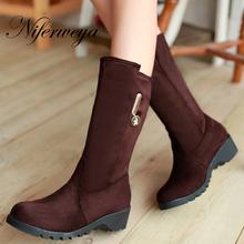 Las nuevas mujeres de invierno, además de zapatos de tamaño 30-50 flock solid Ronda Toe zapatos de tacón bajo Slip-On negro Mitad de la Pantorrilla botas de nieve caliente HQW-9699(China (Mainland))