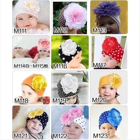 2014 New baby hat top baby hat with big flower children winter warm caps for Christmas kids headband 12 colors wholesale