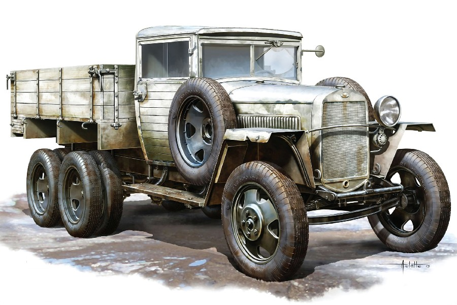 Fallout Soviet Truck Car Gaz-aaa Model 1943 Drawing Water Color Painting Style Fabric Poster Print Picture For Home Decoration(China (Mainland))