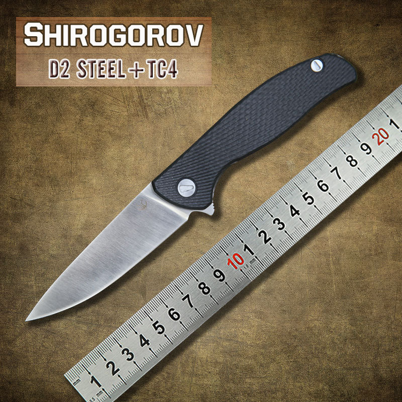 Free shipping Shirogorov F95 IceBreaker folding knife D2 blade TC4 Titanium handle camping hunting outdoors survival