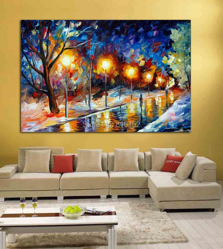 Palette Knife Painting Freeze Park At Night Landscape Picture Printed on Canvas for Home Office Hotel Wall Art Decor(China (Mainland))