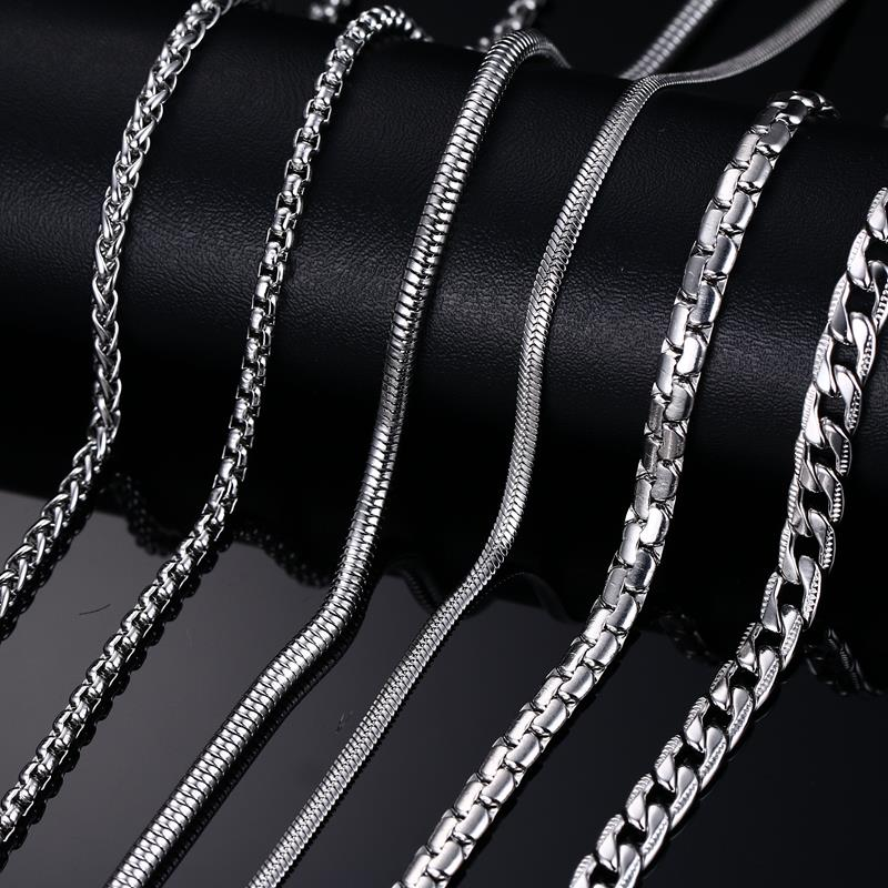 Fashion Stainless Steel Snake Chain 20/24inch Wholesale Chain Customized Jewelry Silver Plated Chains Necklace For Men Women(China (Mainland))