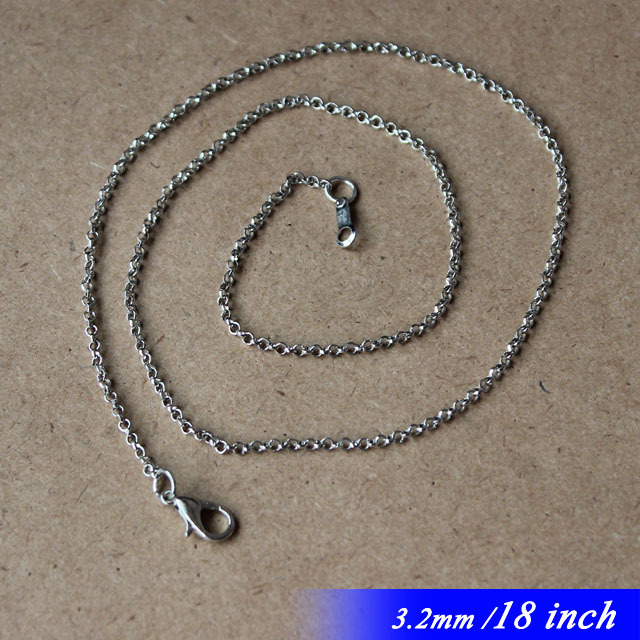 Fashion For Pendants 18inch Metal Circle Rolo Jewelry Necklace Links Chains 3.2mm With Lobster Clasps Connectors Bulk Sale<br><br>Aliexpress