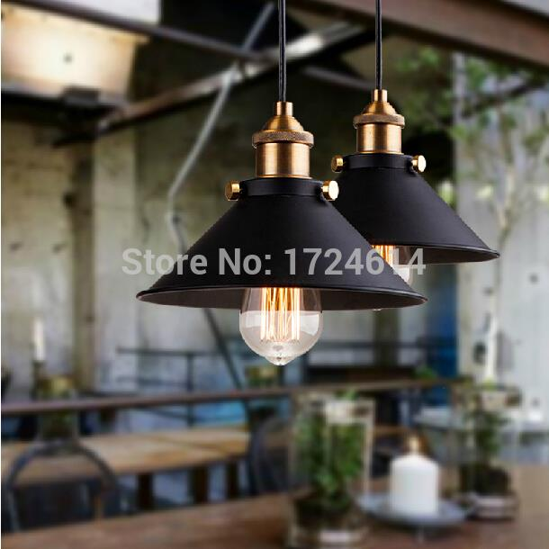Dia*21cm American industrial loft Vintage pendant lights for dining room iron black painted E27 Edison bulb home lamp<br><br>Aliexpress