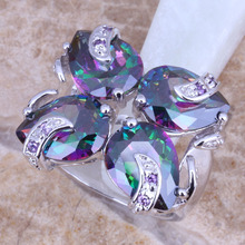 Magic Rainbow Mystic Topaz Amethyst 925 Sterling Silver Overlay Free Shipping & Gift Bag Women's Big Ring Size 6 / 7 / 9 E801(China (Mainland))