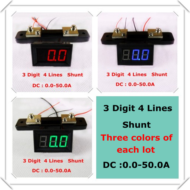 "RD Three colors of each lot 0.56"" Digital Ammeter dc 0-50A Four wires Three digit Current Panel Meter Shunt [ 3 pieces / lot](China (Mainland))"
