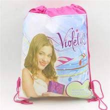 christmas birthday gifts supplies cartoon non-woven fabric drawstring bags violetta children girl swimming school backpacks(China (Mainland))