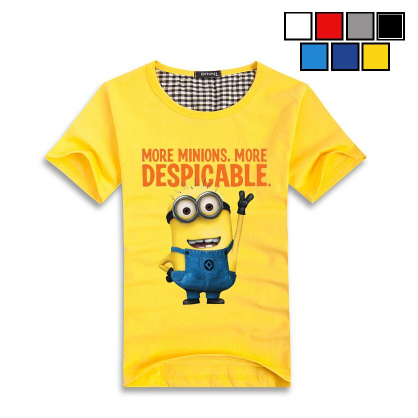 Men Summer Fashion O Neck Cotton T Shirt Yellow Print Character Single Jersey T-shirt Mens Quality Tops Tees Men's Casual Shirts - Mirabelle store