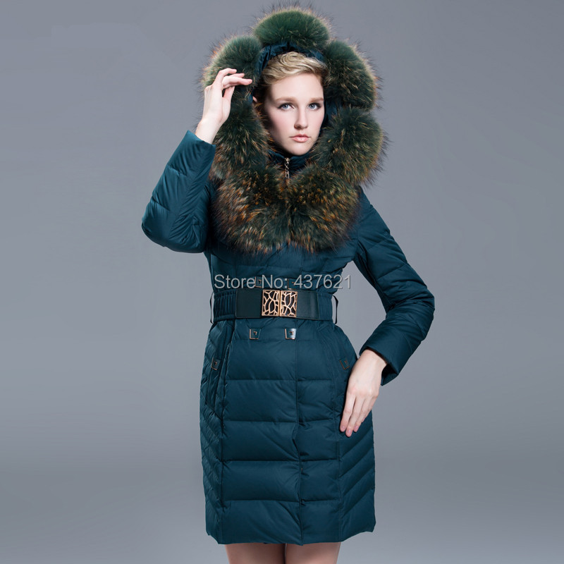 2015women's fashion luxury large Genuine raccoon fur collar long coat female thickening slim brand winter jacket S-XXL - Happy Time Store 437621 store