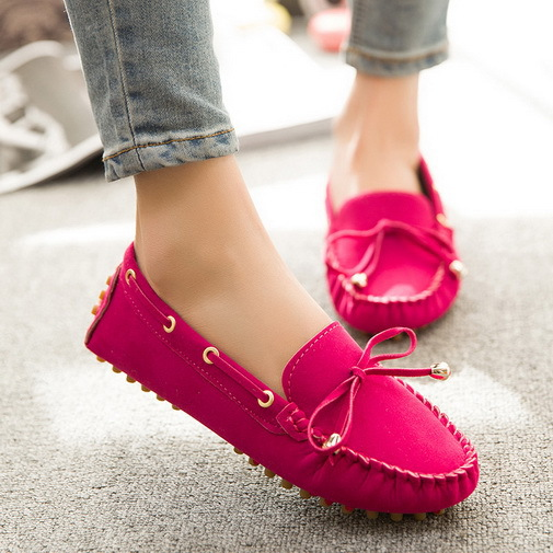 2015 Fashion Womens Flat Shoes Faux Suede Bowknot Comfort Women Loafers Shoes Slip On Ladies Flats Shoes Wholesales(China (Mainland))
