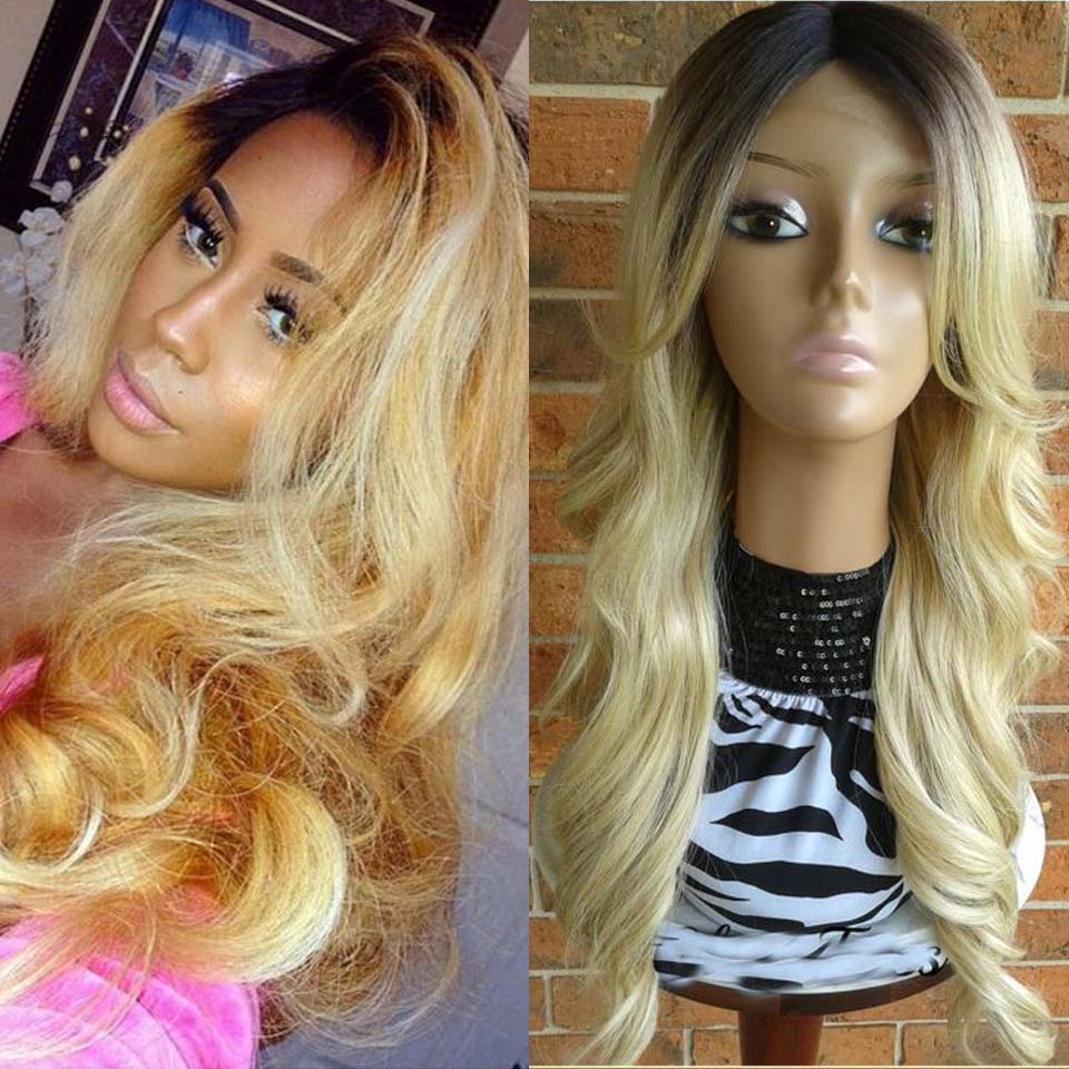 Ombre 613 Blonde Mongolian Virgin Hair Wave Glueless Lace Front Wigs Full Lace Human Hair Wigs For Black Women Baby Hair<br><br>Aliexpress