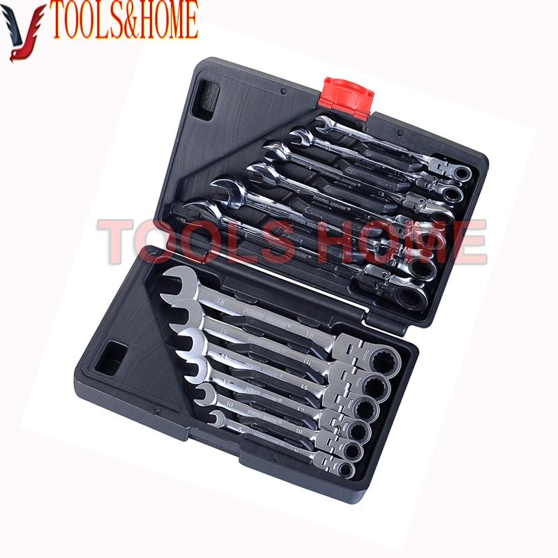 Free shipping!!12PCS/set 8-19MM Chrome Vanadium Flexible ratchet wrench set, spanner set,gear wrench set, car repair tool