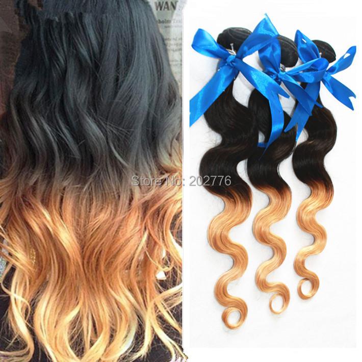 6a ombre brazilian hair 3pcs lot two tone color#1b/27 brazilian virgin hair ombre weave body wave ombre virgin hair bundles