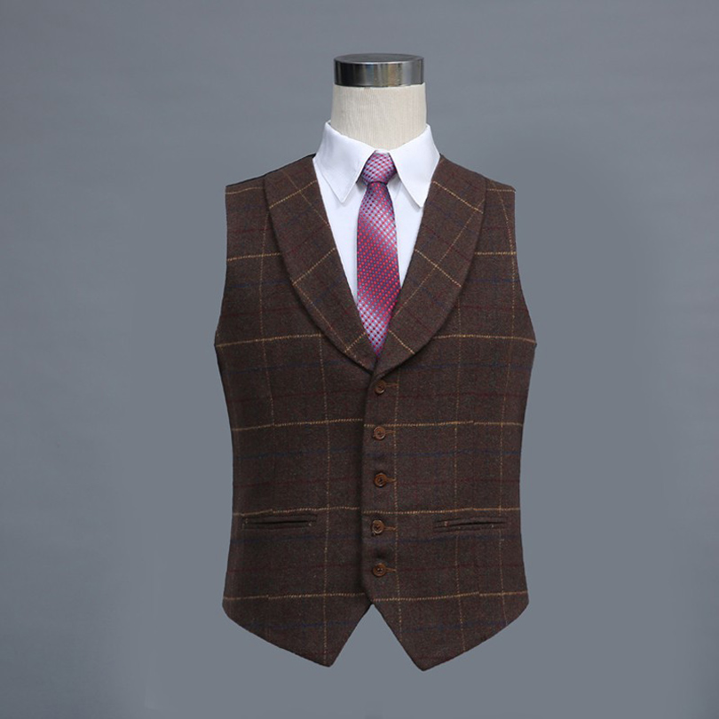 Five Buttons Brown Lattice Wool Classic Tailor Made Waistcoat Slim Fit Vest For Men