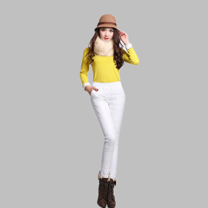 2016 New fashion women high waist pants leggings thicken warm elegant plus size pants Outer Wear Warm Windproof Down pants JS504(China (Mainland))