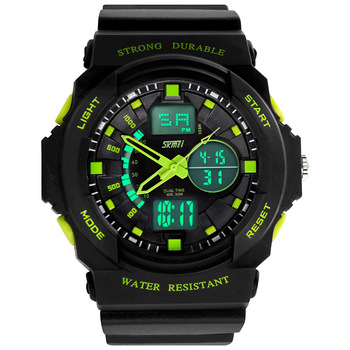 SKMEI relogio esportivo Analog Digital Display Black Resin Strap Sport Men Watches Chronograph Alarm 50M Waterproof