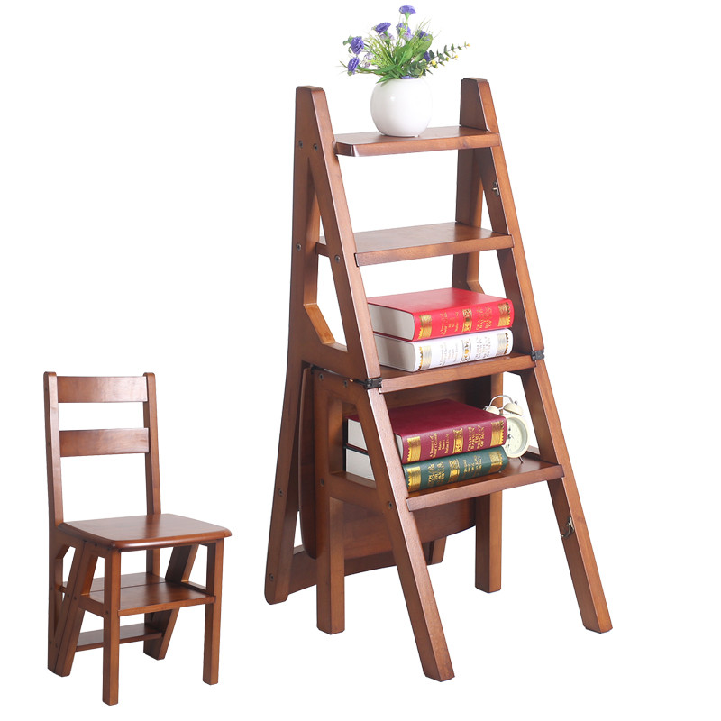 Convertible Multi-functional Four-Step Library Ladder Chair in 3 Color Library Furniture Folding Wood Chair Step Ladder For Home(China (Mainland))