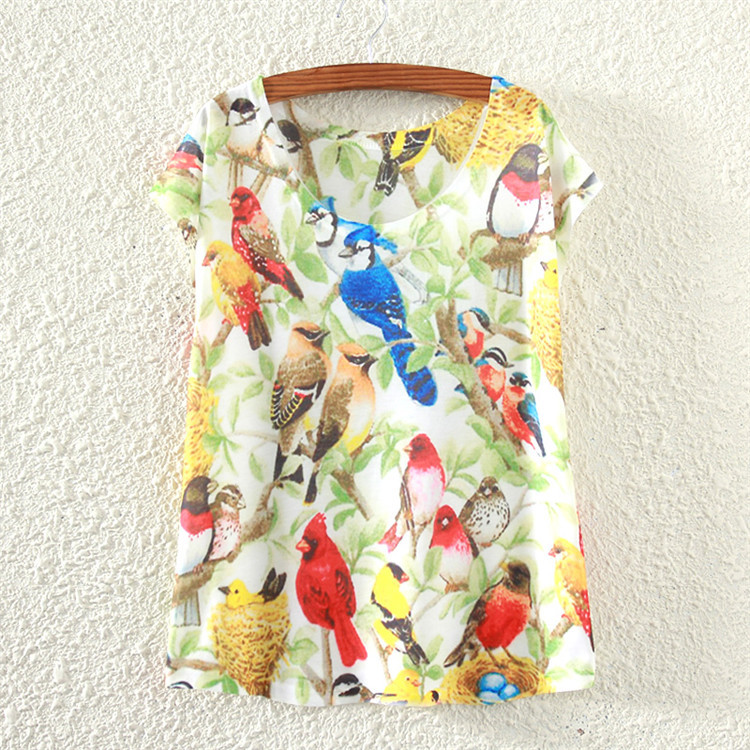 New Design Fashion Vintage Spring Summer Women Clothing Tops Blouse Birds Print Woman Clothes(China (Mainland))