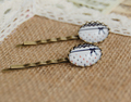 Blue Red Anchors Bowknot Print Glass Cabochon Hairpins for Girls Navy Preppy Vintage Bronzed Sea Hair