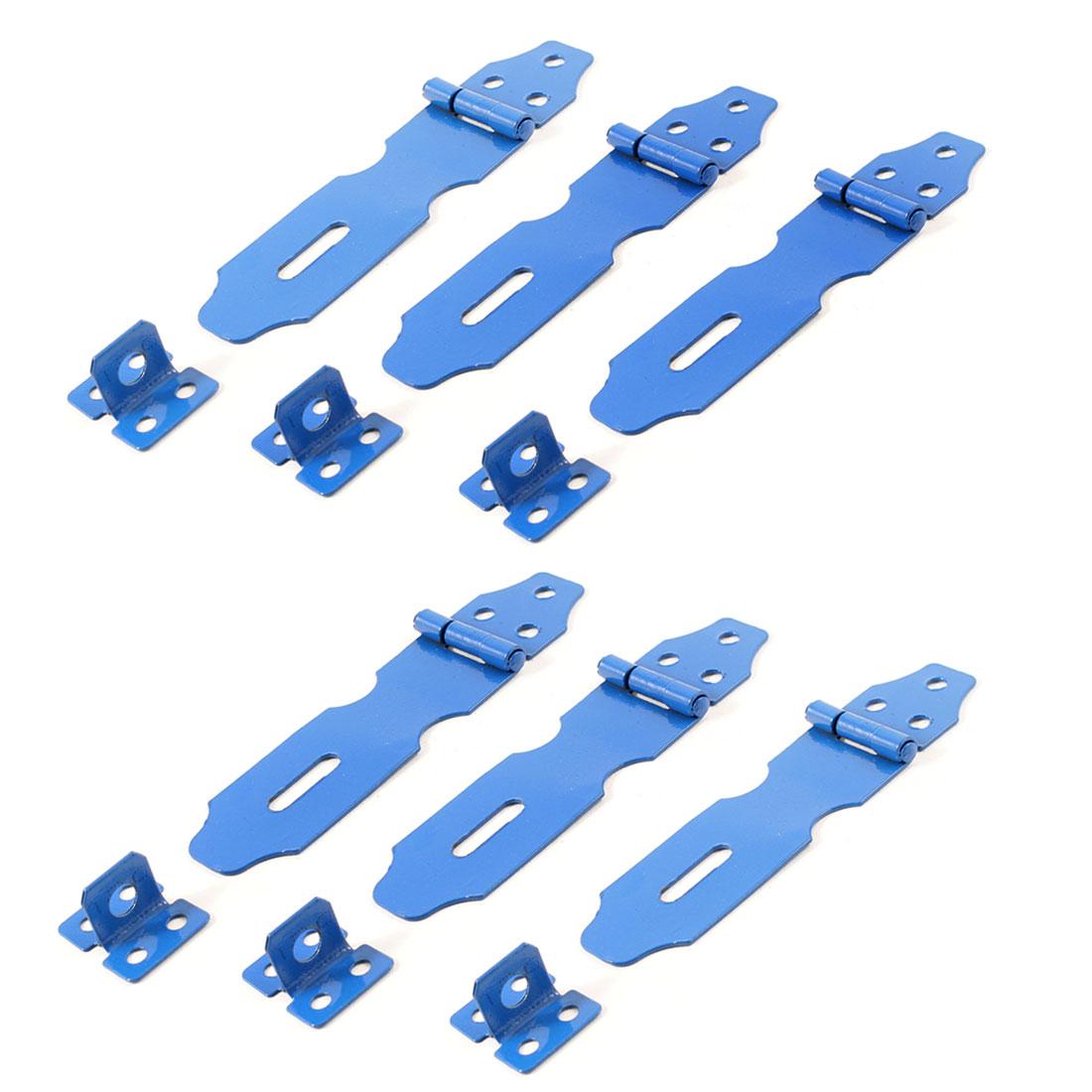 Blue Metal Cabinet Cupboard Gates Padlock Latch Door Hasp Staple 6 Sets(China (Mainland))