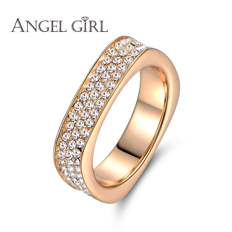 Angel Girl 2016 new Unique Square Filigree Wedding Ring with Micro 3 Rows of crystal Real Gold Plated Jewelry For Women(China (Mainland))