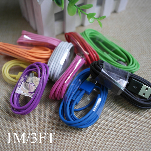 High Quality 1M/3FT 2M/6FT 3M/10FT Colorful 8pin USB Charger Data Sync Cable Cords Wire For iPhone 5 5s 6 6Plus ios 8(China (Mainland))